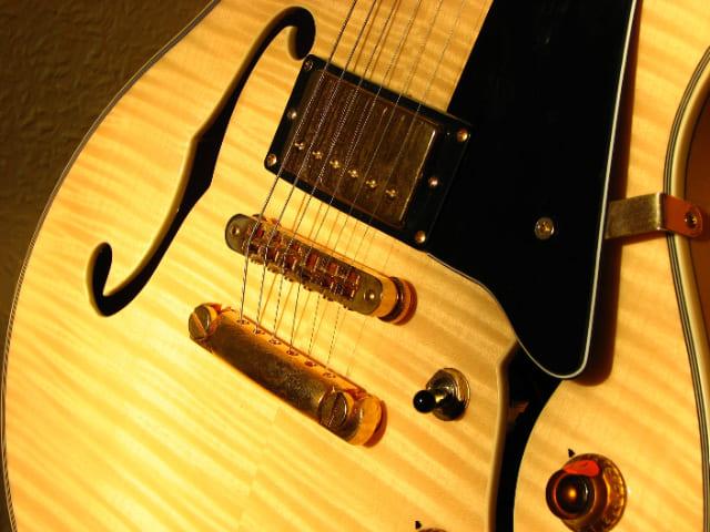 Guitarra-semi-acustica-instrumento-de-cuerda-punteada